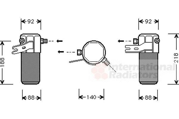 Filtre déshydratant, climatisation - VAN WEZEL - 0300D012