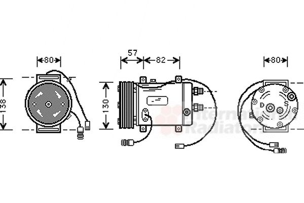 Compresseur, climatisation - VAN WEZEL - 0300K006