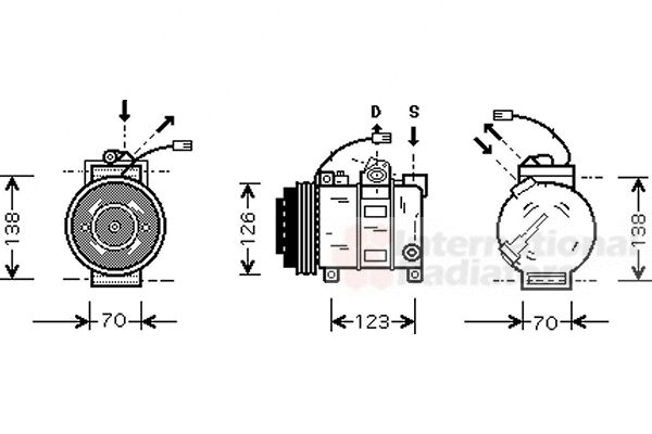 Compresseur, climatisation - VAN WEZEL - 0300K015