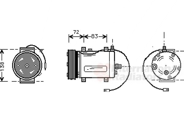 Compresseur, climatisation - VAN WEZEL - 0300K144