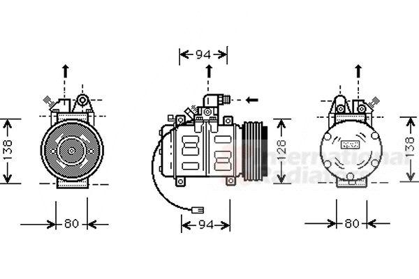 Compresseur, climatisation - VAN WEZEL - 0300K182