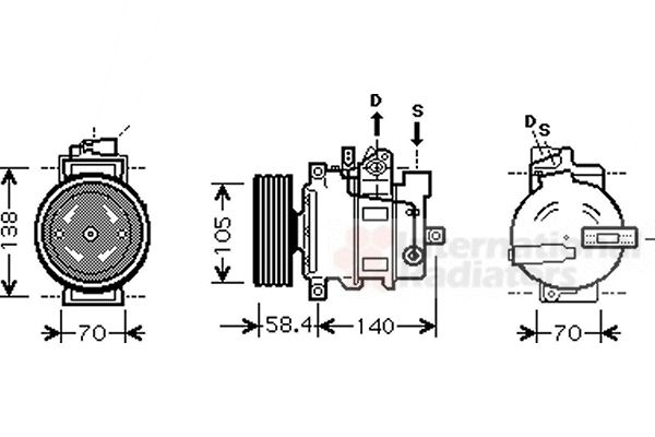 Compresseur, climatisation - VAN WEZEL - 0300K262