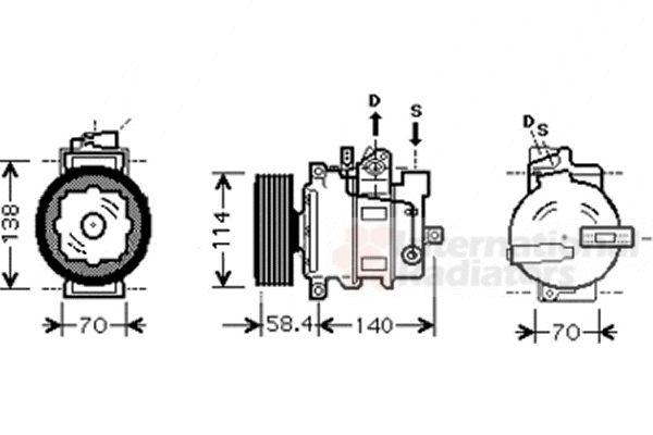 Compresseur, climatisation - VAN WEZEL - 0300K269