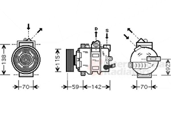 Compresseur, climatisation - VAN WEZEL - 0300K270