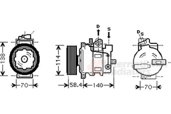 Compresseur, climatisation - VAN WEZEL - 0300K272