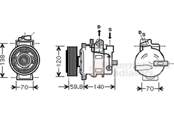 Compresseur, climatisation - VAN WEZEL - 0300K278