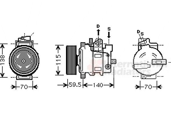 Compresseur, climatisation - VAN WEZEL - 0300K284