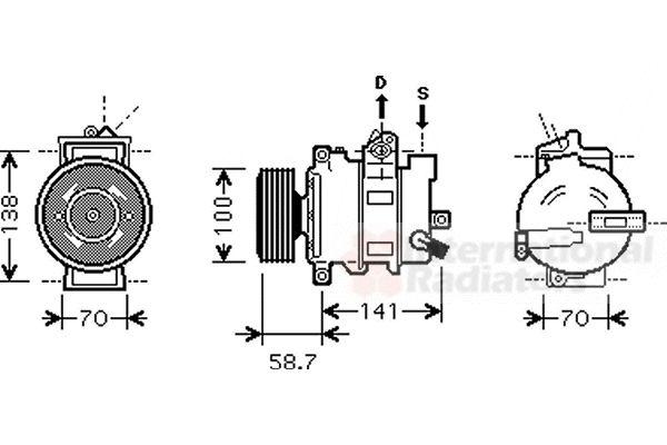 Compresseur, climatisation - VAN WEZEL - 0300K287