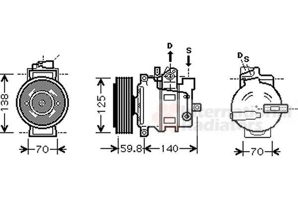 Compresseur, climatisation - VAN WEZEL - 0300K295