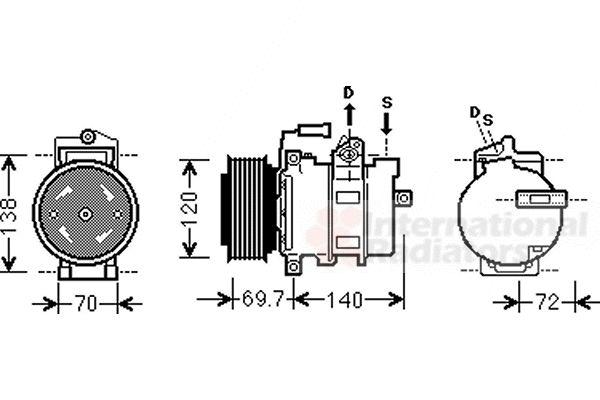 Compresseur, climatisation - VAN WEZEL - 0300K312