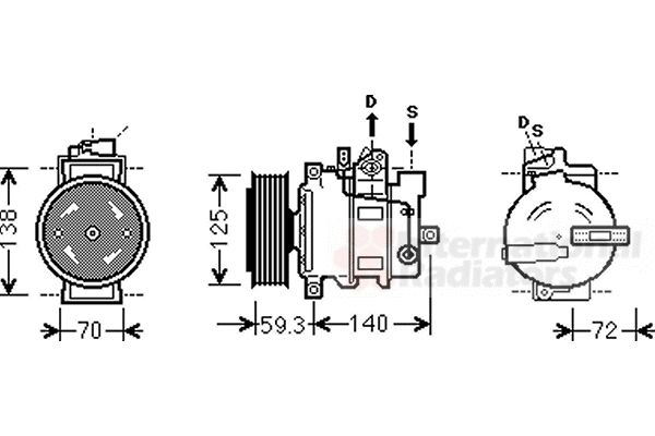Compresseur, climatisation - VAN WEZEL - 0300K313