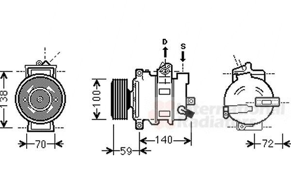 Compresseur, climatisation - VAN WEZEL - 0300K314