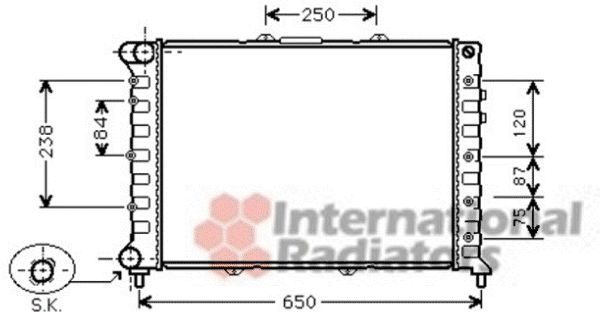 Radiateur, refroidissement du moteur - VAN WEZEL - 01002114