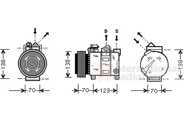 Compresseur, climatisation - VAN WEZEL - 0100K016