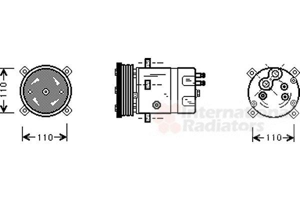 Compresseur, climatisation - VAN WEZEL - 0100K071