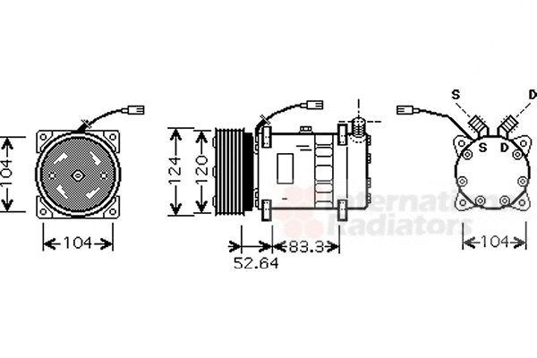 Compresseur, climatisation - VAN WEZEL - 0100K095
