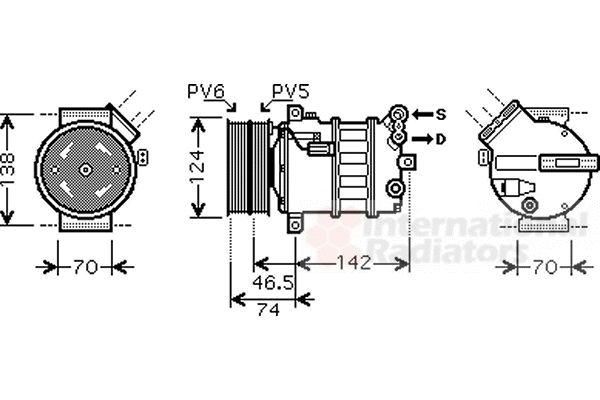 Compresseur, climatisation - VAN WEZEL - 0100K106