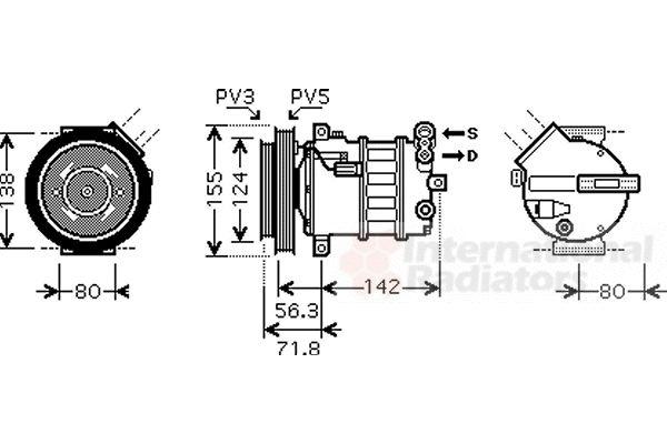 Compresseur, climatisation - VAN WEZEL - 0100K107