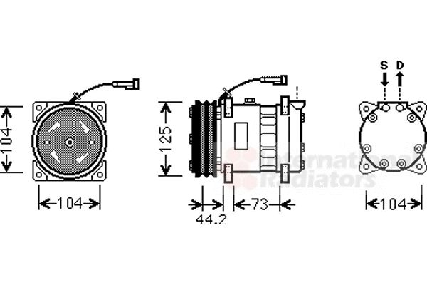 Compresseur, climatisation - VAN WEZEL - 0100K113