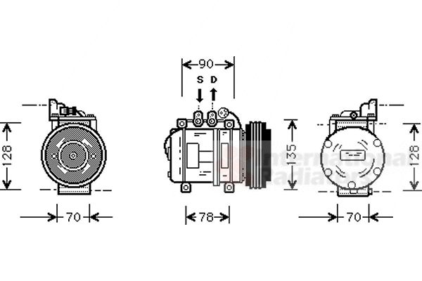 Compresseur, climatisation - VAN WEZEL - 0200K018