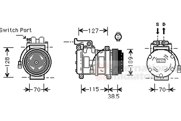 Compresseur, climatisation - VAN WEZEL - 0200K027