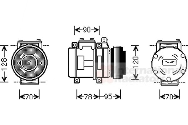 Compresseur, climatisation - VAN WEZEL - 0200K028