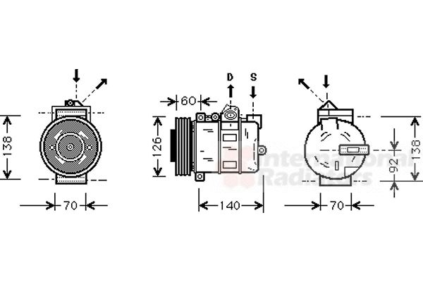 Compresseur, climatisation - VAN WEZEL - 0200K050