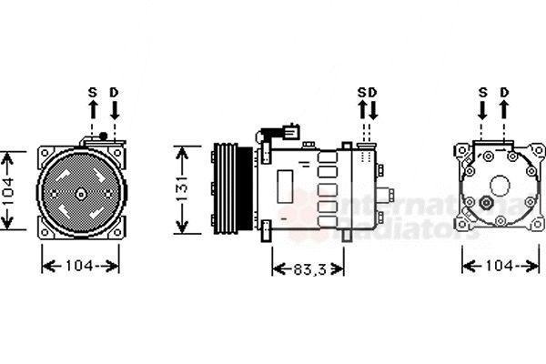 Compresseur, climatisation - VAN WEZEL - 0200K156