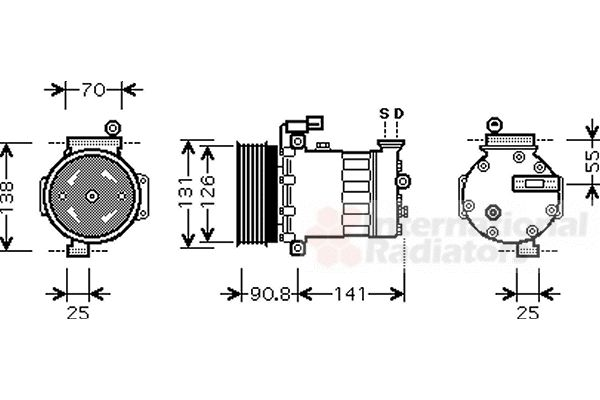 Compresseur, climatisation - VAN WEZEL - 0200K172
