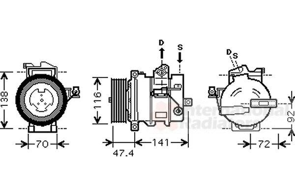 Compresseur, climatisation - VAN WEZEL - 0200K188