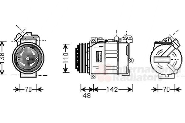 Compresseur, climatisation - VAN WEZEL - 0600K015