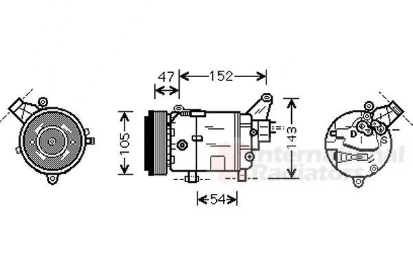 Compresseur, climatisation - VAN WEZEL - 0600K076