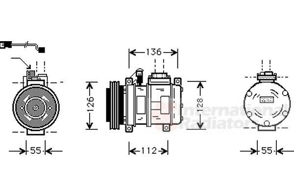Compresseur, climatisation - VAN WEZEL - 0600K228