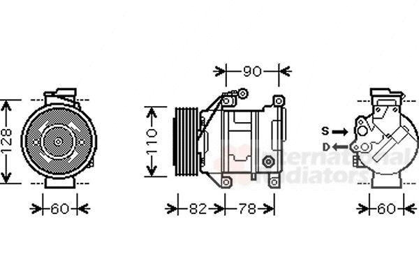 Compresseur, climatisation - VAN WEZEL - 0600K316