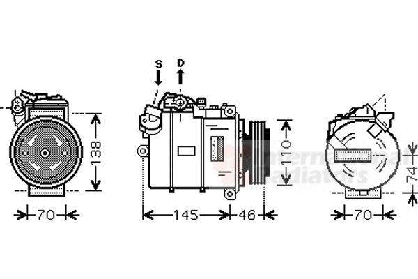 Compresseur, climatisation - VAN WEZEL - 0600K318