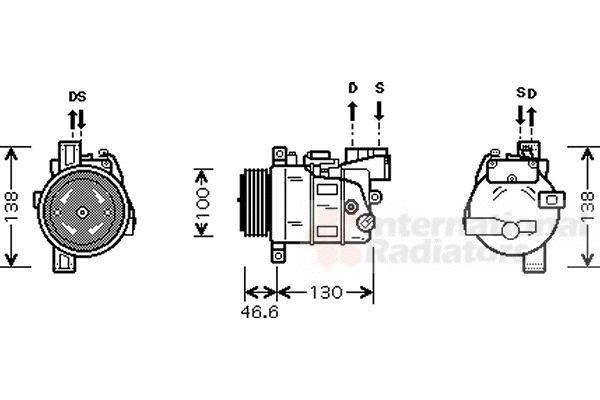 Compresseur, climatisation - VAN WEZEL - 0600K319