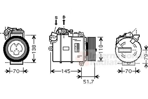 Compresseur, climatisation - VAN WEZEL - 0600K329
