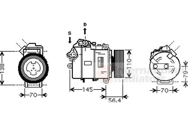 Compresseur, climatisation - VAN WEZEL - 0600K330