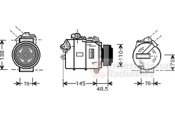Compresseur, climatisation - VAN WEZEL - 0600K332