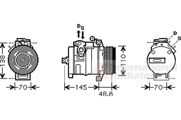 Compresseur, climatisation - VAN WEZEL - 0600K334