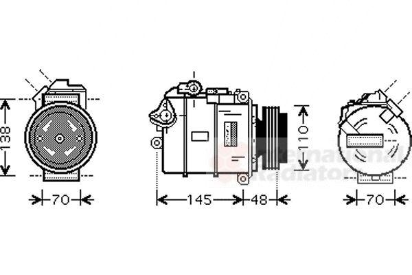 Compresseur, climatisation - VAN WEZEL - 0600K348