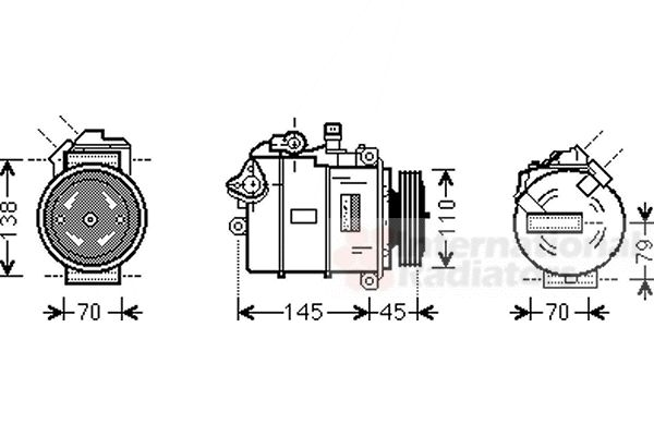 Compresseur, climatisation - VAN WEZEL - 0600K383