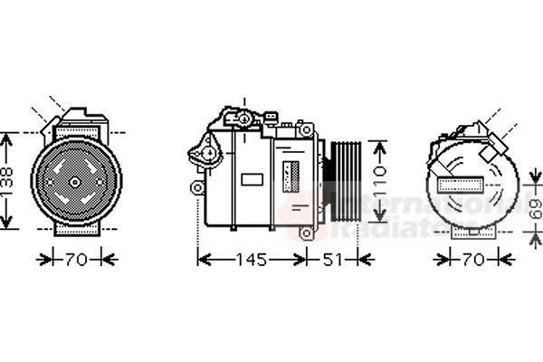 Compresseur, climatisation - VAN WEZEL - 0600K384