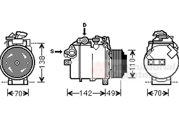 Compresseur, climatisation - VAN WEZEL - 0600K387
