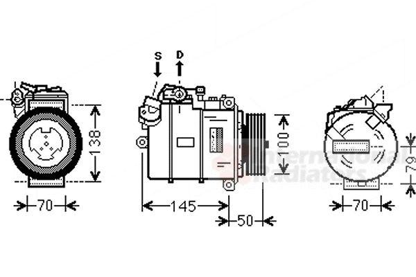 Compresseur, climatisation - VAN WEZEL - 0600K388