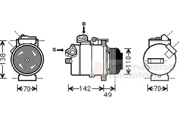 Compresseur, climatisation - VAN WEZEL - 0600K389