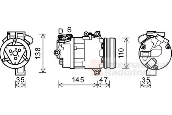 Compresseur, climatisation - VAN WEZEL - 0600K395