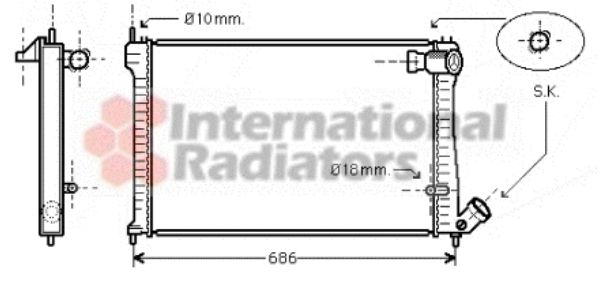 Radiateur, refroidissement du moteur - VAN WEZEL - 09002101