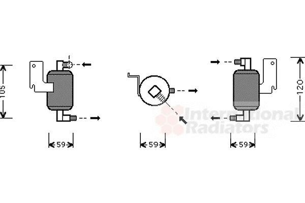 Filtre déshydratant, climatisation - VAN WEZEL - 0900D186