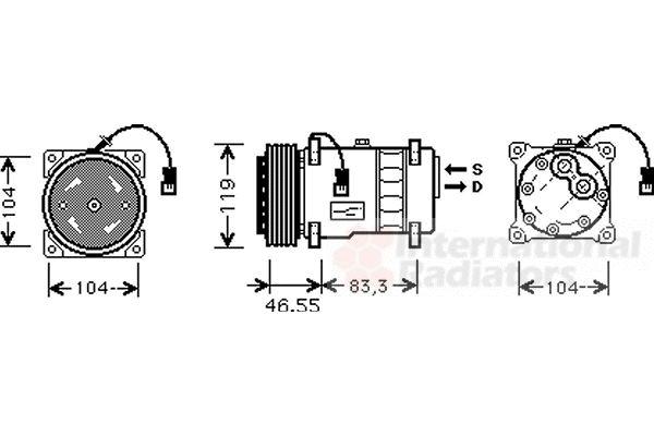 Compresseur, climatisation - VAN WEZEL - 0900K019